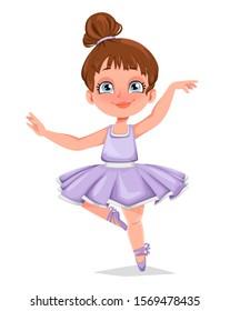 Cute little girl ballerina. Funny girl cartoon character dancing. Vector illustration isolated on white background