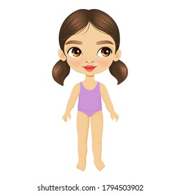 Cute little girl with big eyes, stands in underwear