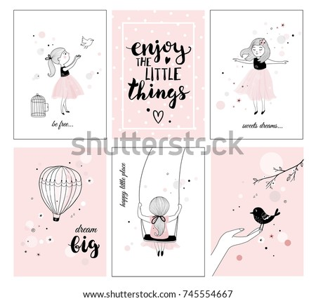 Cute Little Girl Bird Quotes Posters Stock Vector Royalty Free