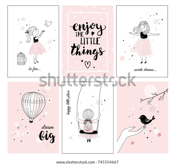 Cute Little Girl Bird Quotes Posters Stock Vector (Royalty ...