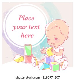 cute little girl  with blocks.  Baby with toys. Happy smiling toddler  hold wooden cubes. Physical, intellectual development. Preset for blog. Template for mom's social media. Vector illustration.