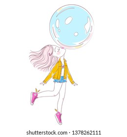 Cute little girl blowing a big bubble gum balloon and flying on it. Vector illustration for design of t-shirts, notebooks, greeting cards, etc.