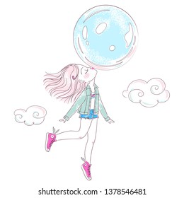 Cute little girl blowing a big bubble gum balloon and flying on it in clouds. Vector illustration for design of t-shirts, notebooks, greeting cards, etc.