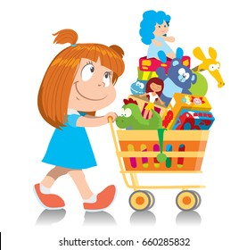 Cute little girl in a blue dress pushes a shopping trolley with purchases. Isolated character. Cartoon vector illustration