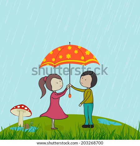 Royalty-free stock vector images ID  203268700. Cute little girl and boy  holding umbrella on beautiful romantic rainy day background. - Vector 331e24354b5c7