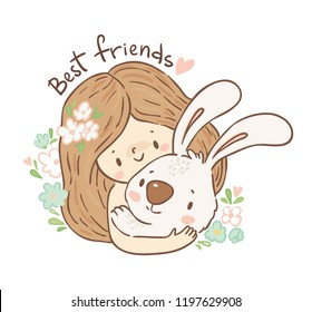 Cute little girl and bunny/ best friends card