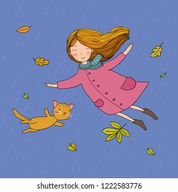 Cute little girl and a cute cartoon cat flying with autumn leaves. Vector illustration.