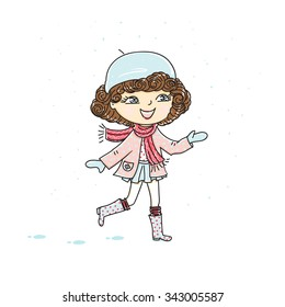 A cute little girl catches snow. Vector illustration.