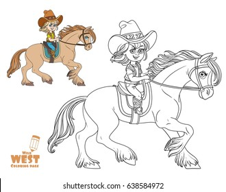 Cute little girl in a cowboy suit riding a horse coloring page on a white background