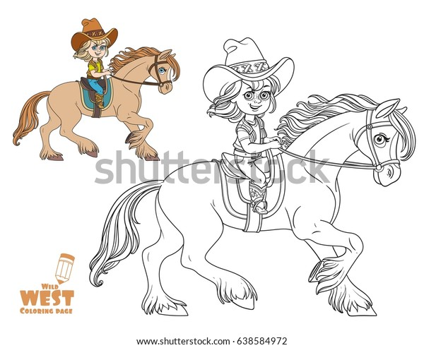 Cute Little Girl Cowboy Suit Riding Stock Vector Royalty