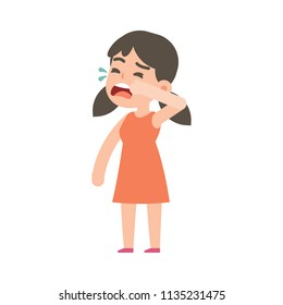 Cute little girl crying, vector character illustration.