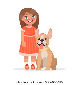 A cute little girl and a dog on a white background. Vector illustration of a cartoon style