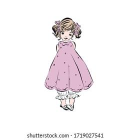 Cute little girl dressed in pink dress.