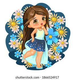 A cute little girl dressed as a princess. Cheerful funny child in a good mood. The isolated object on a white background. Young baby. Cartoon flat style. Vector