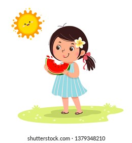 Cute little girl feeling happy with watermelon in hot sunny day.