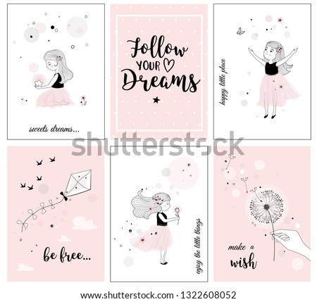 Cute Little Girl Flower Quotes Posters Stock Vector Royalty Free