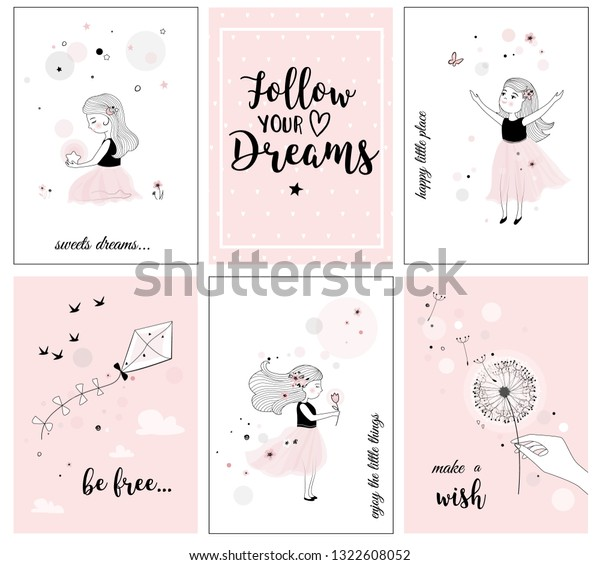 Cute Little Girl Flower Quotes Posters Stock Vector (Royalty ...