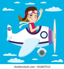 Cute little girl flying a plane on sky waving hand