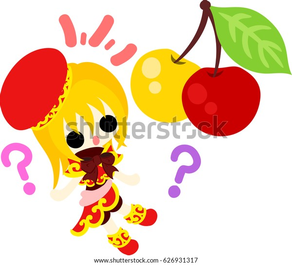 A cute little girl and funny cherries