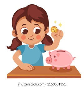 Cute little girl is going to put a coin in a piggy Bank. Child saves money. Cartoon vector illustration