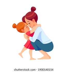 Cute little girl greeting her mother at home. Mother's day concept. Parent and child. Mom hugging her daughter with a lot of love and tenderness. Cartoon flat isolated vector design.