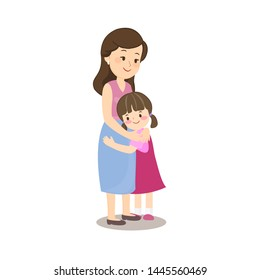 cute little girl hugging his mother