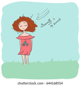 Cute little girl. Lettering butterfly in my stomach. Vector hand drawn illustration.