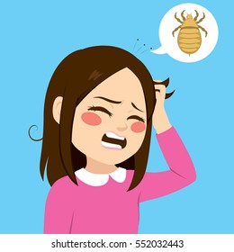 Cute little girl with lice annoyed scratching itchy hair