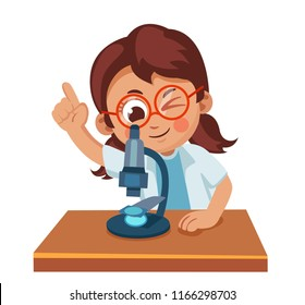 Cute little girl looking through a microscope. Science for children. Cartoon vector illustration