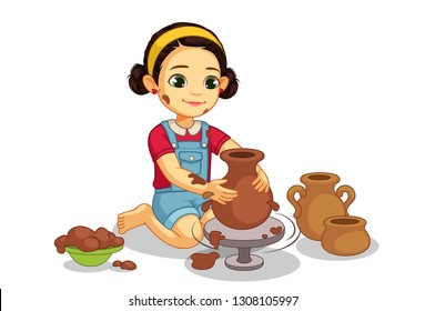 Cute little girl making pottery on wheel