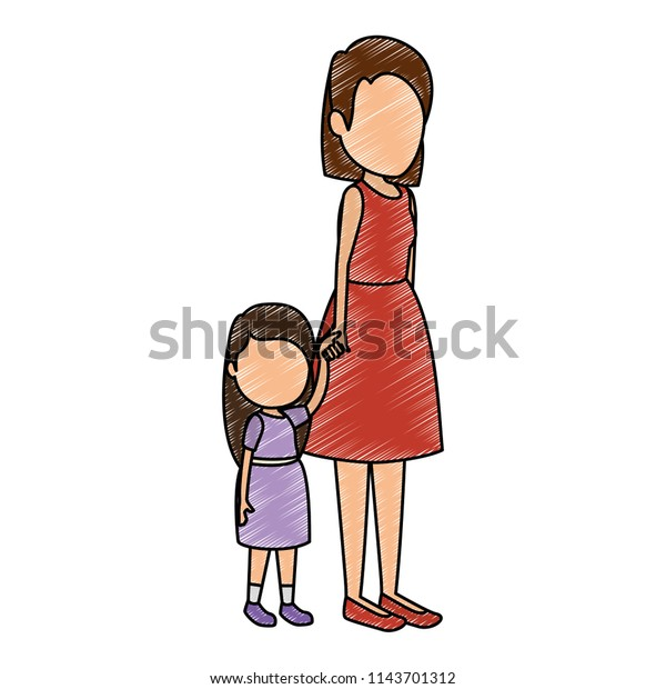 Cute Little Girl Mother Characters Stock Vector (Royalty