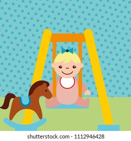 cute little girl on swing and rocking horse toys