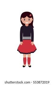 Cute little girl on a white background. Cartoon character. Vector illustration.