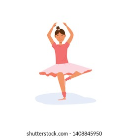 Cute little girl in pink ballet tutu skirt and point slippers practise dancing pas - position number 5 - in ballet studio class. Kids activity concept. Flat vector illustration isolated background.