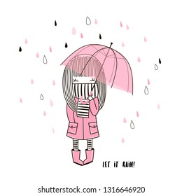 Cute little girl in pink coat and stripy scarf hiding under umbrella during during the rain weather. Vector doodle illustration in pink colour for girlish designs like textile apparel print, wall art