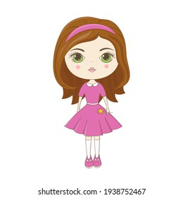 Cute little girl in pink dress. For greeting cards, posters, books, stickers, print for clothes. For birthday, baby shower, board game, books illustration.
