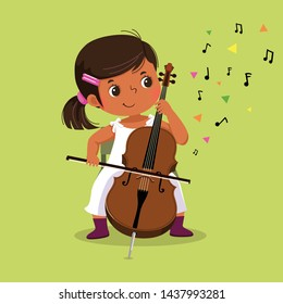 Cute little girl playing the cello on green background