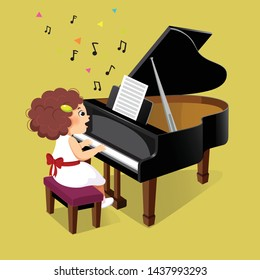 Cute little girl playing the grand piano on yellow background