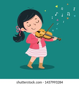 Cute little girl playing the violin on green background