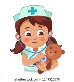 Cute little girl girl plays docto. Child with a stethoscope listens to the breathing of teddy bear. Cartoon vector illustration