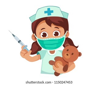 Cute little girl plays doctor with syringe and teddy bear. Cartoon vector illustration