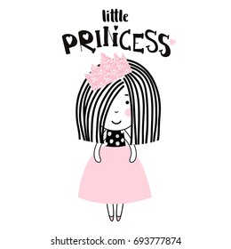 Cute little girl print. Girl ballerina with pink glitter crown. Great for kids apparel, nursery decoration. Vector Illustration
