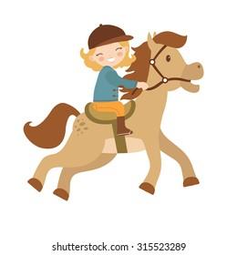 Cute little girl riding a horse. Vector illustration
