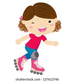 Cute little girl riding roller skates