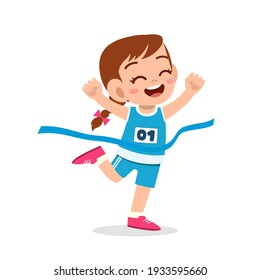 cute little girl run in race and win first place