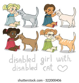 cute little girl scratching the cat's ear. disabled person and disabled animal supports each other. friends forever.
