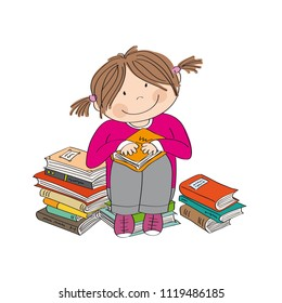 Cute little girl sitting on the pile of books, surrounded of books, enjoying reading - original hand drawn illustration