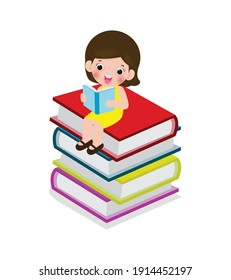 cute little girl sitting and reading a book on stack of books, happy pupil reading a book at a top of a books heap, kids back to school Flat Vector Illustration isolated on white background