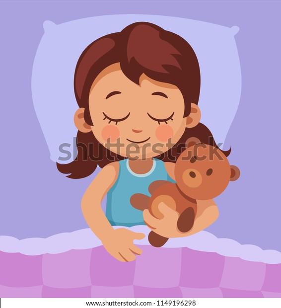 Image Vectorielle De Stock De Jolie Petite Fille Qui Dort Au 1149196298
