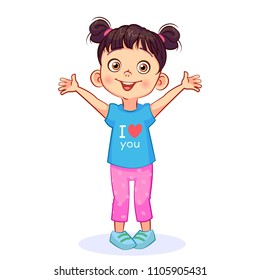 "Cute little girl stretches out her arms for hugs. Vector kids image ""I love you""."